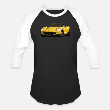 Corvette PERFORMANCE YELLOW CHEVROLET CORVETTE - Unisex Baseball T-Shirt