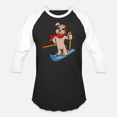 Skier Dog Skiing Puppy Cute Ski Gift Boys Girls - Baseball T-Shirt