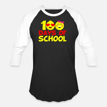 100 Emoji 100 days school emojis Class Teacher Professor - Baseball T-Shirt