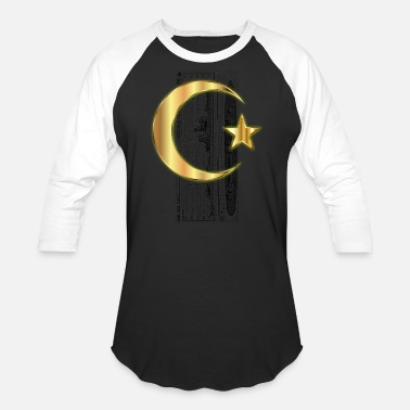 Vivid Golden Crescent Moon And Star Enhanced Without - Unisex Baseball T-Shirt