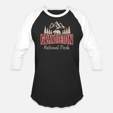 Vintage Grand Teton National Park US Mountains - Unisex Baseball T-Shirt