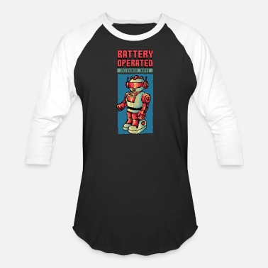 80s Retro Robot 80's Robot toy pixel game graphics - Baseball T-Shirt
