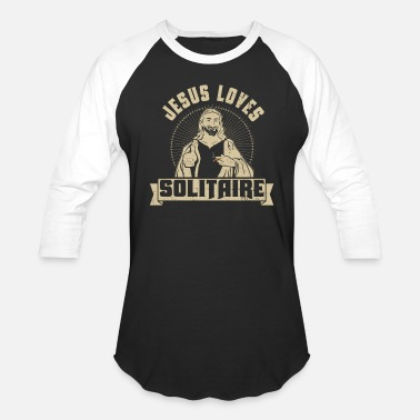 Solitaire Jesus Loves Solitaire Card Game Poker Cigar Novelty - Baseball T-Shirt