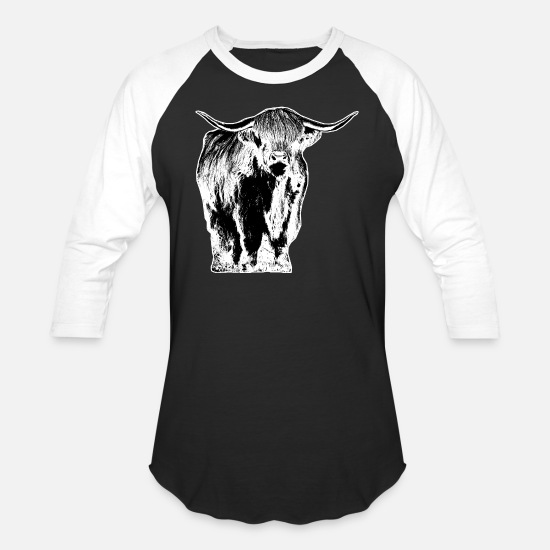 Highland T-Shirts - Highland cattle Scotland cow - Unisex Baseball T-Shirt black/white