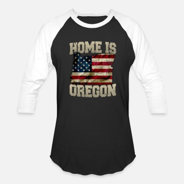 Iowa Home Home is Oregon USA US map gift unique fans Proud Strong Support - Unisex Baseball T-Shirt