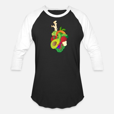 Diet vegan heart vegetables vegetarian diet herbivore - Unisex Baseball T-Shirt