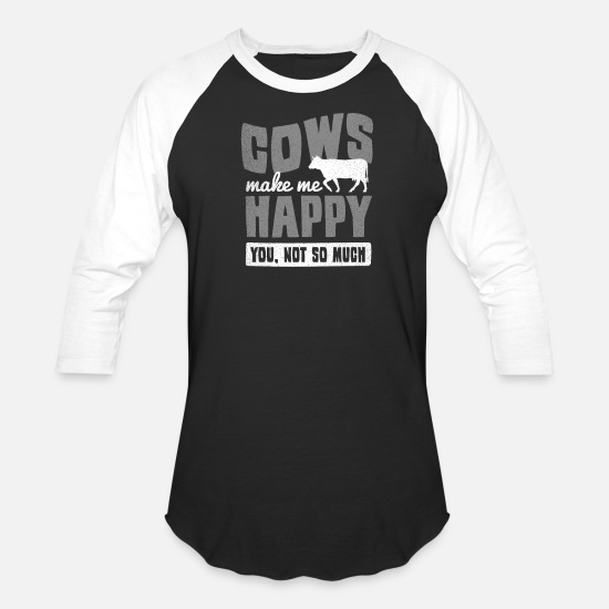 Riding T-Shirts - Farming Cows Make Me Happy Gift - Unisex Baseball T-Shirt black/white
