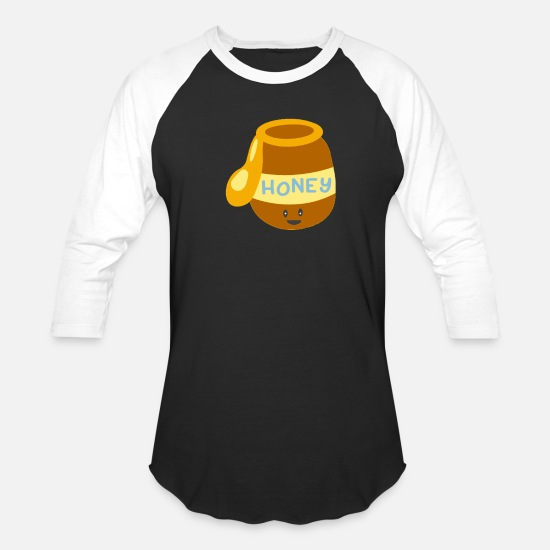 Honey T-Shirts - Cute Happy Honey Pot Smiling Honey Funny - Unisex Baseball T-Shirt black/white