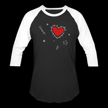 Heart with cracks and stars, grunge style - Baseball T-Shirt