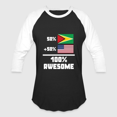 50% Guyanese 50% American 100% Awesome Funny Flag - Baseball T-Shirt