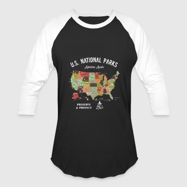 National Park Map Vintage Hiking Camping - Baseball T-Shirt