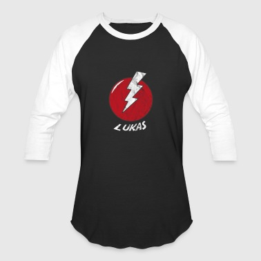 Funny Bolt Name Shirt Superhero Lukas - Baseball T-Shirt
