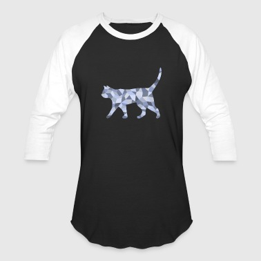 A blue-gray cat reminiscent of cubism - Baseball T-Shirt