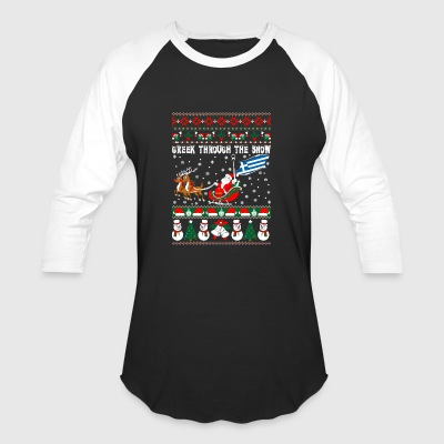 Greek Through The Snow Ugly Christmas Sweater - Baseball T-Shirt