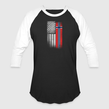 Norwegian American Flag - Baseball T-Shirt