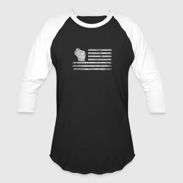Wisconsin State United States Flag Vintage USA - Baseball T-Shirt