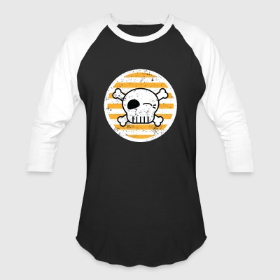 Stripes Skull Roller Derby Roller Skating - Baseball T-Shirt