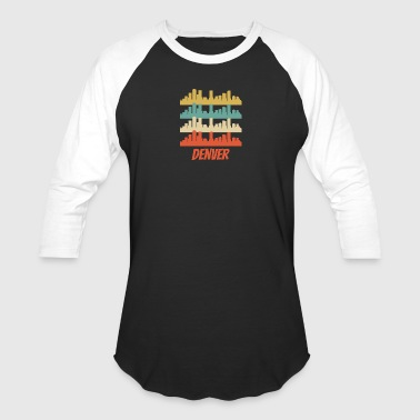Retro Denver CO Skyline Pop Art - Baseball T-Shirt