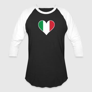 Italian Flag Heart - Baseball T-Shirt