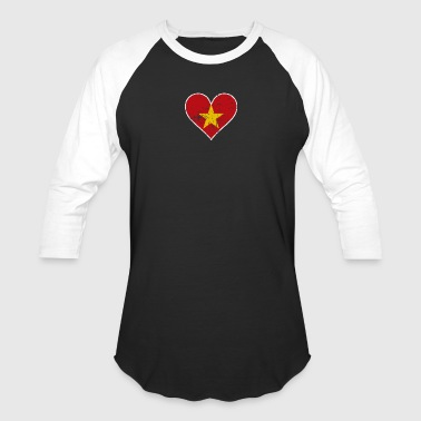 Distressed Vietnamese Flag Heart - Baseball T-Shirt