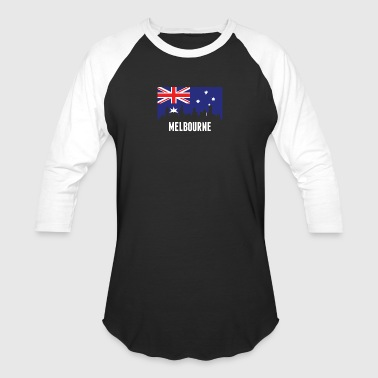 Australian Flag Melbourne Skyline - Baseball T-Shirt