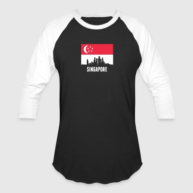Singaporean Flag Singapore Skyline - Baseball T-Shirt