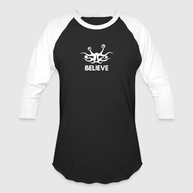 Believe into flying spaghetti monster white - Baseball T-Shirt