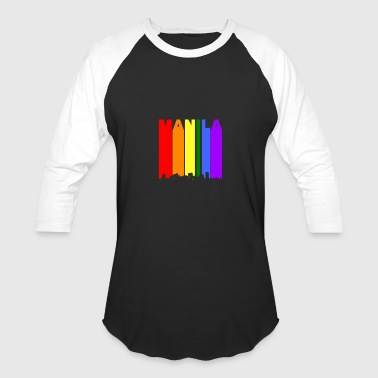 Manila Philippines Skyline Rainbow LGBT Gay Pride - Baseball T-Shirt