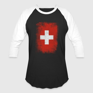 Switzerland Flag Proud Swiss Vintage Distressed - Baseball T-Shirt