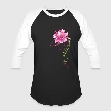 Colorful orchid with filigree ornament, pink and g - Baseball T-Shirt