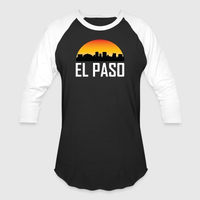 Sunset Skyline Silhouette of El Paso TX - Baseball T-Shirt