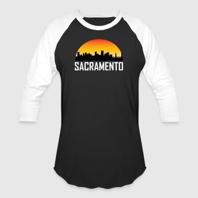 Sunset Skyline Silhouette of Sacramento CA - Baseball T-Shirt