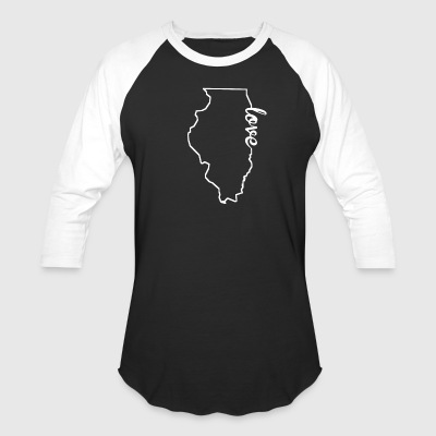 Illinois Love State Outline - Baseball T-Shirt