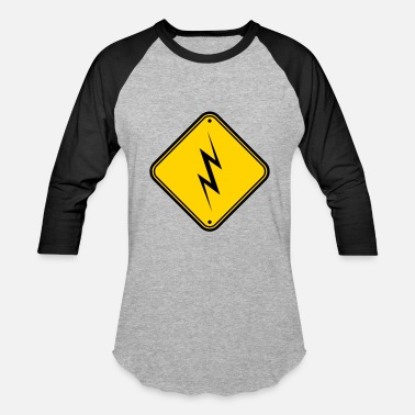 Power Drill caution caution danger sign shield lightning symbo - Baseball T-Shirt