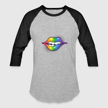 Lips Rainbow Lips - Baseball T-Shirt