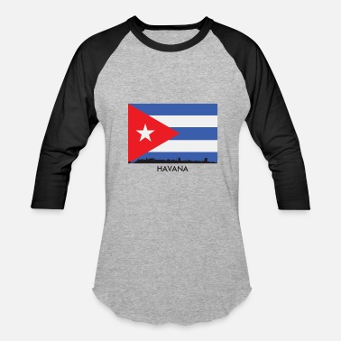 Flag Havana Havana Cuba Skyline Cuban Flag - Baseball T-Shirt