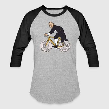 ben franklin on bike with half dollar wheels - Baseball T-Shirt