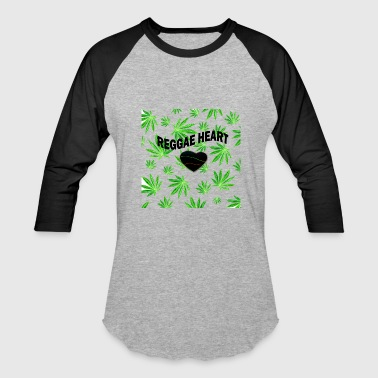 Reggae heart with cannabis - Baseball T-Shirt