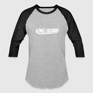 Long Island City Long Island Retro Comic Book Style Logo - Baseball T-Shirt