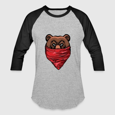 Bears Lift Bear, Gangster Bear wearing a Red Bandanna Pullover - Baseball T-Shirt