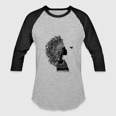 Native Chief proud indian woman with headdress made of feathers - Baseball T-Shirt