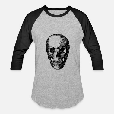 Skull-bone-yellow skull bone skeleton bones halloween - Baseball T-Shirt
