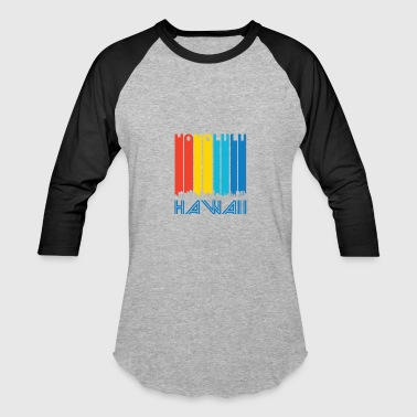 Retro Honolulu Hawaii Skyline - Baseball T-Shirt