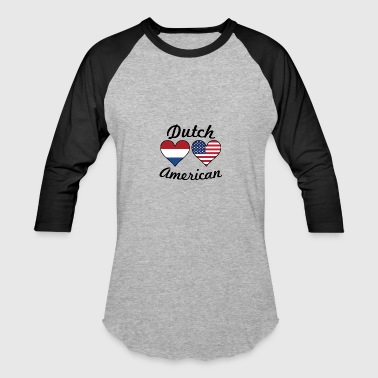 Dutch American Flag Hearts - Baseball T-Shirt