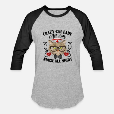 Nurse Cat Lady Cat Nurse Lady Shirt - Baseball T-Shirt