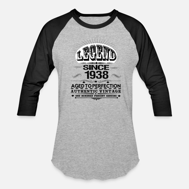 1938 T-Shirts - LEGEND SINCE 1938 - Unisex Baseball T-Shirt heather gray/black