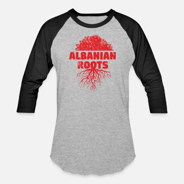 Red Albanian Albanian Red Roots scratched - Unisex Baseball T-Shirt