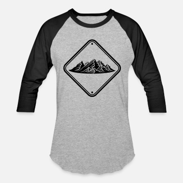 Mountain Bike zone note caution danger shield caution mountains - Baseball T-Shirt