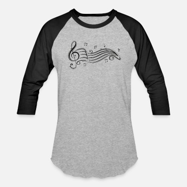 Musical Clef with sheet music and music notes. - Baseball T-Shirt