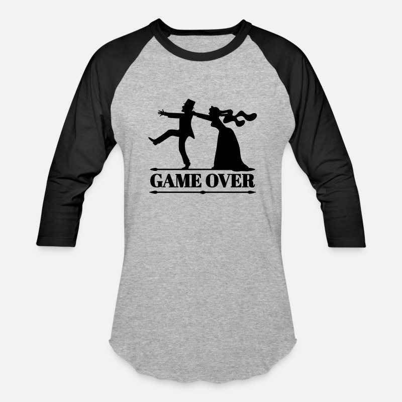 Wedding T-Shirts - game over bride groom bachelor bachelorette party  - Unisex Baseball T-Shirt heather gray/black